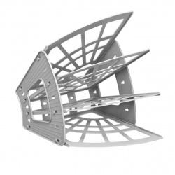 Лоток для бумаг веерный 4-х секционный Стамм Эконом ЛТ413 серый