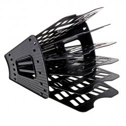 Лоток для бумаг веерный 5-ти секционный Оскол Пласт 5-04 черный