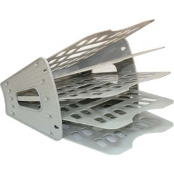 Лоток для бумаг веерный 5-ти секционный Стамм ЛТ90 серый