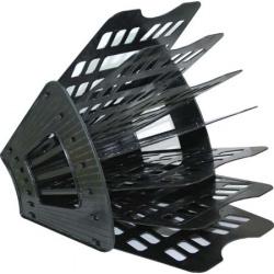 Лоток для бумаг веерный 7-ми секционный, пластик, цвет черный   Стамм ЛТ41