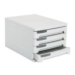 Блок из 4 закрытых лотков для бумаги настольный Erich Krause 40 серый