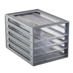 Блок из 4 закрытых лотков для бумаги настольный Стамм ВЛ53 серый