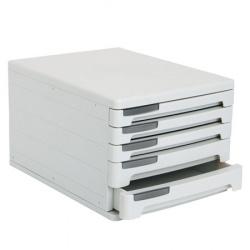 Блок из 5 закрытых лотков для бумаги настольный Erich Krause 53 серый