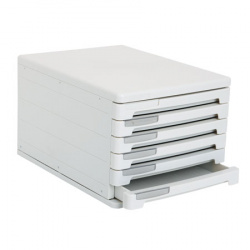 Блок из 6 закрытых лотков для бумаги настольный Erich Krause 63 серый