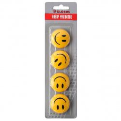 Магниты для досок 40мм 4шт Globus Smile МЦС40 желтые европодвес