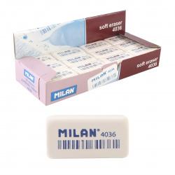 Ластик прямоугольный 39*20*8 каучук Milan 4036/973204 белый