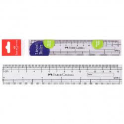 Линейка 15см пластиковая Faber-Castell 170640 прозрачная европодвес