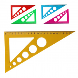 Треугольник пластик, 30 градусов, 20см, трафарет, ассорти 5 видов deVENTE 5097601
