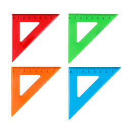 Треугольник 45*70 пластиковый Проф-Пресс Л-6201 ассорти 4 вида