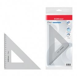 Треугольник пластик, 45 градусов, 16см, цвет прозрачный Clear Erich Krause 39084