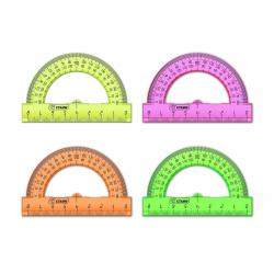 Транспортир 180гр 8см пластиковый Стамм Neon Cristal ТР010 тонированный ассорти