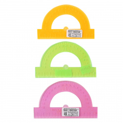 Транспортир пластик тонированный, 180 градусов, 10см, ассорти 3 вида Neon Crystal Стамм ТР21