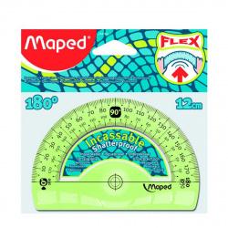 Транспортир 180гр 12см пластиковый Maped Flex 244180 гибкий тонированный
