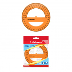 Транспортир 360гр пластиковый Erich Krause Neon 49552 оранжевый