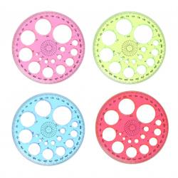Транспортир 360гр пластиковый гибкий КОКОС 206241 ассорти 4 вида