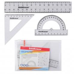 Набор чертежный 3 предмета, малый, (линейка 15см, треуг, трансп), пластик прозрачный Erich Krause 53031