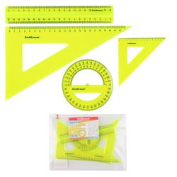 Набор чертежный 4 предмета, большой, (линейка 20см, 2 треуг, трансп), пластик тонированный, цвет желтый Neon Erich Krause 49574