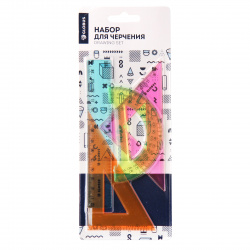 Набор чертежный 4пр малый (линейка 15см, 2 треуг, трансп) Globus НГ4-01 тонированный