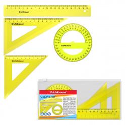 Набор чертежный 4пр средний (линейка 20см, 2 треуг, трансп) Erich Krause Neon 49570 желтый