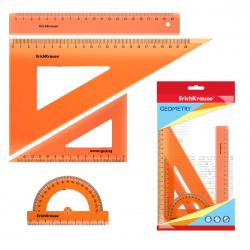 Набор чертежный 4 предмета, средний, (линейка 20см, 2 треуг, трансп), пластик тонированный, цвет оранжевый Neon Erich Krause 49571