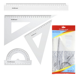 Набор чертежный 4пр большой (линейка 30см, 2 треуг, трансп) Erich Krause Clear 49573 прозрачный