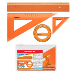 Набор чертежный 4 предмета, большой, (линейка 30см, 2 треуг, трансп), пластик тонированный, цвет оранжевый Neon Erich Krause 53019