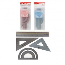 Набор чертежный 4 предмета, малый, (линейка 12 см, 2 треуг, трансп), металл, ассорти 2 вида, цвет ассорти Macaron Deli 6935205316813