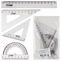 Набор чертежный 4пр малый (линейка 16см, 2 труг, трансп) Стамм НГ11 прозрачный