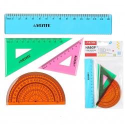 Набор чертежный 4пр малый (линейка 15 см, 2 треуг, трансп) deVENTE 5092302 тонированный ассорти