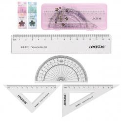 Набор чертежный 4пр малый (линейка 15см, 2 треуг, трансп) КОКОС LEX Flowers 209200 прозрачный ассорти 3 вида