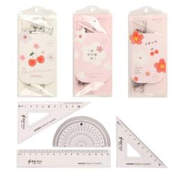 Набор чертежный 4 предмета, малый, (линейка 15см, 2 треуг, трансп), пластик прозрачный, ассорти 3 вида Cherry КОКОС 311403 LITTLE FROG