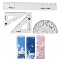 Набор чертежный 4 предмета, средний, (линейка 20см, 2 треуг, трансп), пластик, ассорти 3 вида White Animal КОКОС 206210 LITTLE FROG