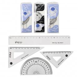 Набор чертежный 4пр средний (линейка 20см, 2 треуг, трансп) LITTLE FROG Cosmos 311406 ассорти 3 вида