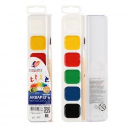 Акварель 6 цветов Луч Классика медовая с кистью пластиковая коробка европодвес 19С 1283-08