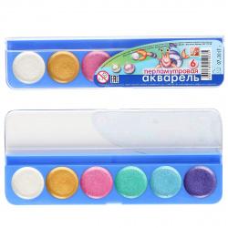 Акварель 6 цветов Луч Перламутровая без кисти пластиковая коробка 16С 1117-08