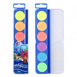 Акварель 6 цветов, флуоресцентная, без кисточки, пластиковая коробка  Луч  21С 1395-08