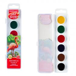 Акварель 6 цветов Erich Krause Artberry с УФ защитой яркости без кисти пластиковая коробка европодвес 41723