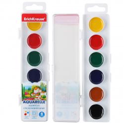 Акварель 6 цветов Erich Krause без кисти пластиковая коробка европодвес 50580