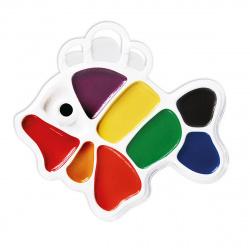 Акварель 9 цветов Луч Рыбка медовая без кисти пластиковая коробка европодвес 12С 828-08