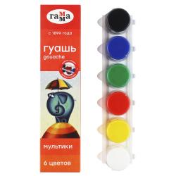 Гуашь 6 цветов 20мл Гамма Юный художник картонная коробка 221007