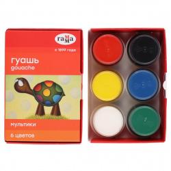 Гуашь 6 цветов 20мл Гамма Мультики картонная коробка 221030