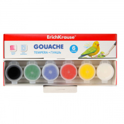 Гуашь 6 цветов 17мл Erich Krause Basic картонная коробка 50543