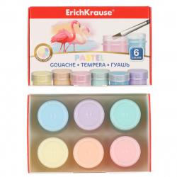 Гуашь 6 цветов 20мл Erich Krause Pastel картонная коробка 50540