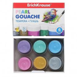 Гуашь 6 цветов 20мл Erich Krause Pearl картонная коробка 50539