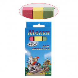 Мел цветной, 3шт, d-16мм, форма квадратная, картонная коробка, европодвес Алгем НМЦА-3