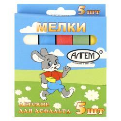Мел цветной, 5шт, d-16мм, форма квадратная, картонная коробка, европодвес Алгем НМЦА-5