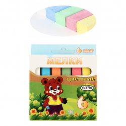 Мел цветной, 6шт, d-12мм, форма квадратная, картонная коробка, европодвес Алгем НМЦ-6