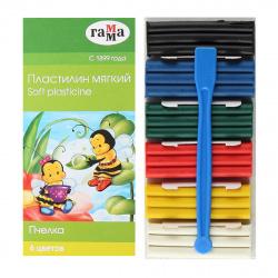 Пластилин 6 цветов 90гр Гамма Пчелка восковой со стеком картонная коробка 280029Н