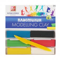 Пластилин 6 цветов 120гр Луч Классика со стеком картонная коробка 12с878-08