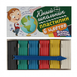 Пластилин 6 цветов 90гр Гамма увлечений Юный школьник со стеком картонная коробка 8042508/ПЮШ906С